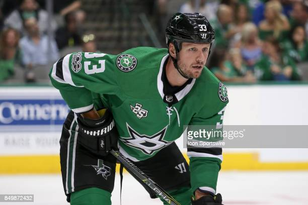 Dallas Stars defenseman Marc Methot waits for a faceoff during the NHL game between the St Louis Blues and Dallas Stars on September 19 2017 at...