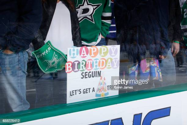 Dallas Stars fans show their support for Tyler Seguin of the Dallas Stars on his 25th birthday against the Toronto Maple Leafs at the American...