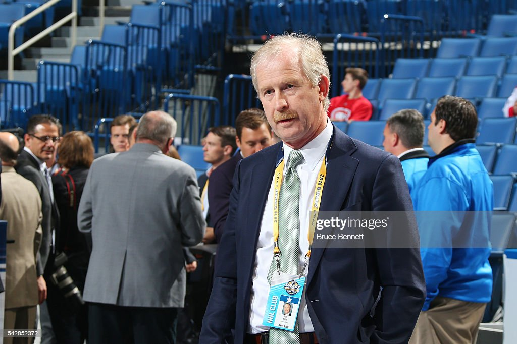 Dallas Stars General Manager <a gi-track='captionPersonalityLinkClicked' href=/galleries/search?phrase=Jim+Nill&family=editorial&specificpeople=2298874 ng-click='$event.stopPropagation()'>Jim Nill</a> is pictured during round one of the 2016 NHL Draft on June 24, 2016 in Buffalo, New York.