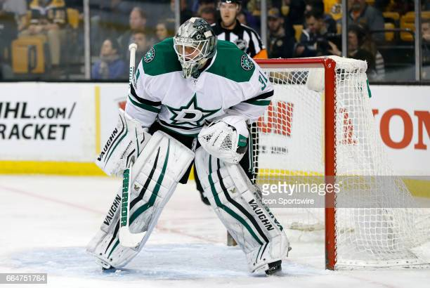 Dallas Stars goalie Antti Niemi gets set for a face off during a regular season NHL game between the Boston Bruins and the Dallas Stars on March 30...