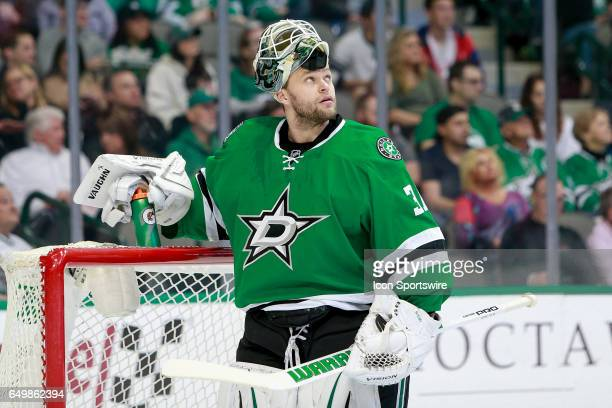 Dallas Stars Goalie Antti Niemi peers up at the scoreboard during the NHL hockey game between the Ottawa Senators and Dallas Stars on March 8 2017 at...