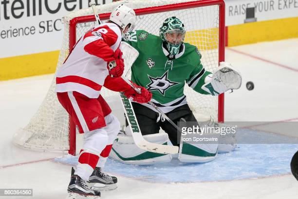 Dallas Stars Goalie Ben Bishop fights off a shot during the NHL game between the Detroit Red Wings and Dallas Stars on October 10 2017 at the...
