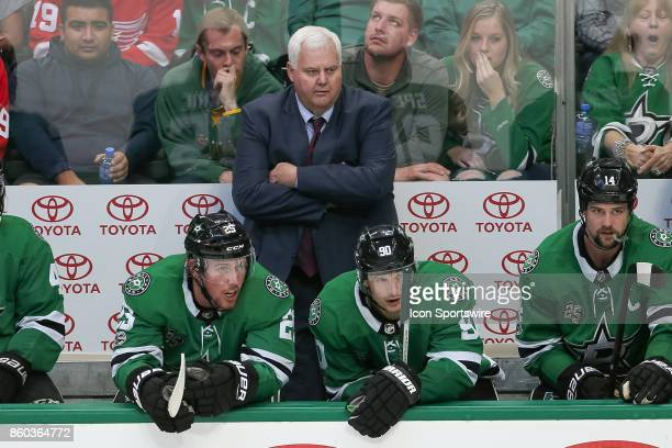 Dallas Stars Head Coach Ken Hitchcock looks on from the bench during the NHL game between the Detroit Red Wings and Dallas Stars on October 10 2017...