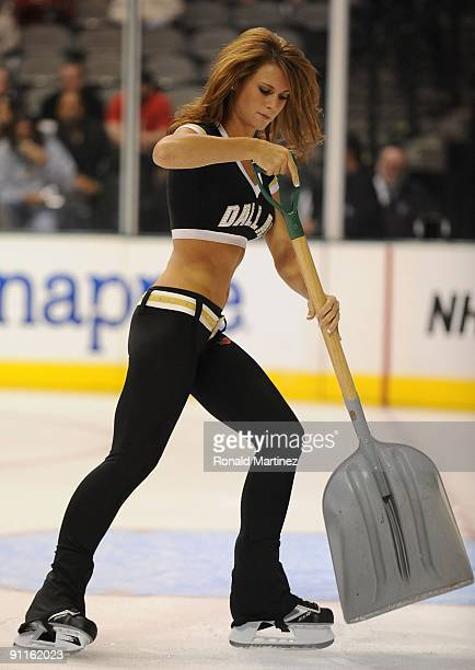 Dallas Stars Ice Girl cleans the ice during a preseason game at American Airlines Center on September 24 2009 in Dallas Texas