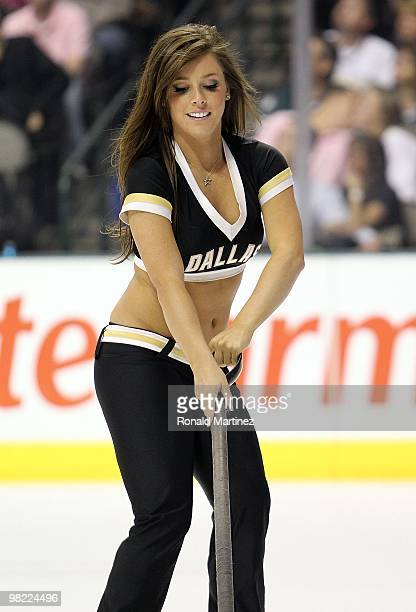 Dallas Stars Ice Girl during a game against the Edmonton Oilers at American Airlines Center on April 2 2010 in Dallas Texas