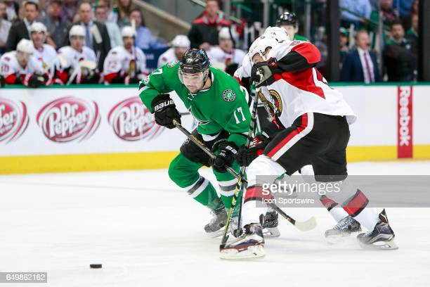 Dallas Stars Left Wing Devin Shore fights through a check during the NHL hockey game between the Ottawa Senators and Dallas Stars on March 8 2017 at...
