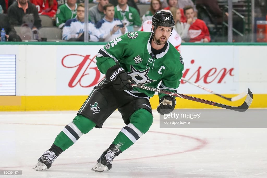 Dallas Stars Left Wing Jamie Benn (14) during the NHL game between the Detroit Red Wings and Dallas Stars on October 10, 2017 at the American Airlines Center in Dallas, TX.