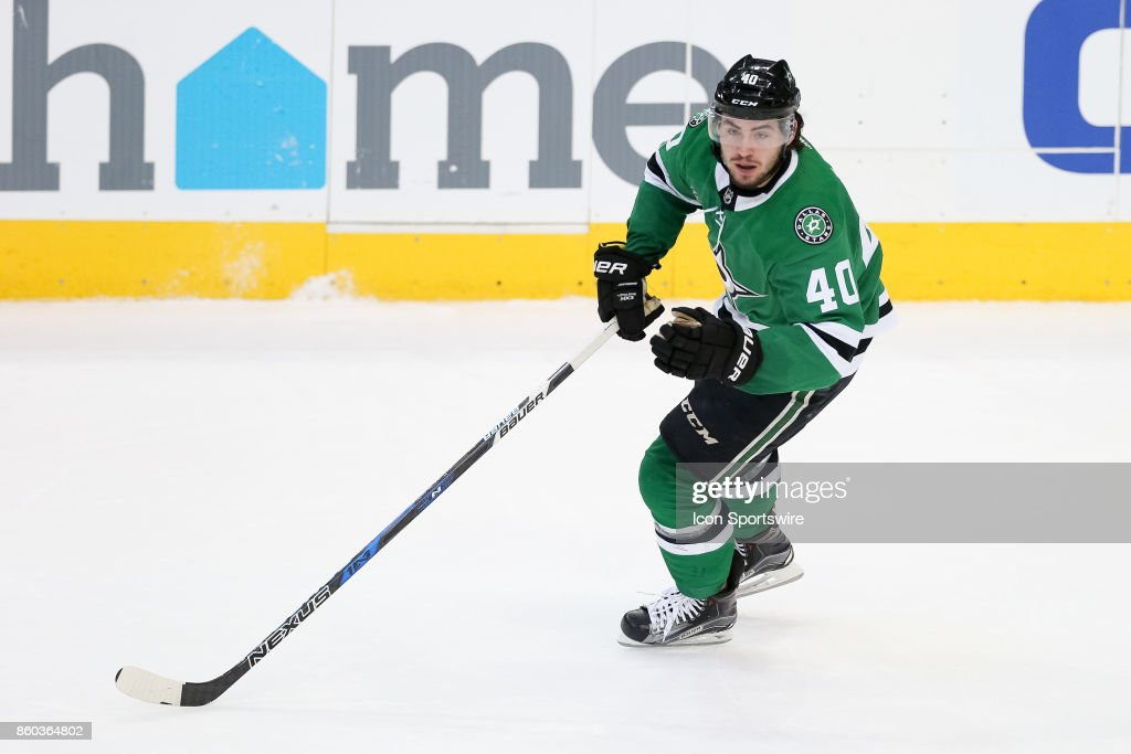 Dallas Stars left wing Remi Elie (40) during the NHL game between the Detroit Red Wings and Dallas Stars on October 10, 2017 at the American Airlines Center in Dallas, TX.