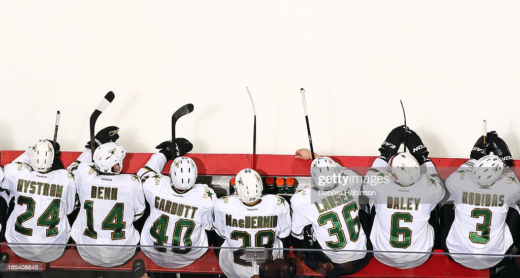 Dallas Stars players sit on the bench during the game against the Anaheim Ducks on April 3, 2013 at Honda Center in Anaheim, California.