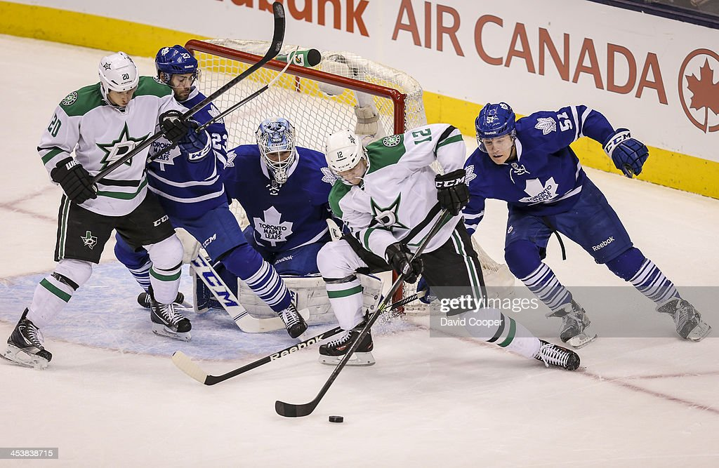 TORONTO ON DECEMBER 5 Dallas Stars right wing Alex Chiasson tries to get a shot on Toronto Maple Leafs goalie Jonathan Bernier as Toronto defenseman...