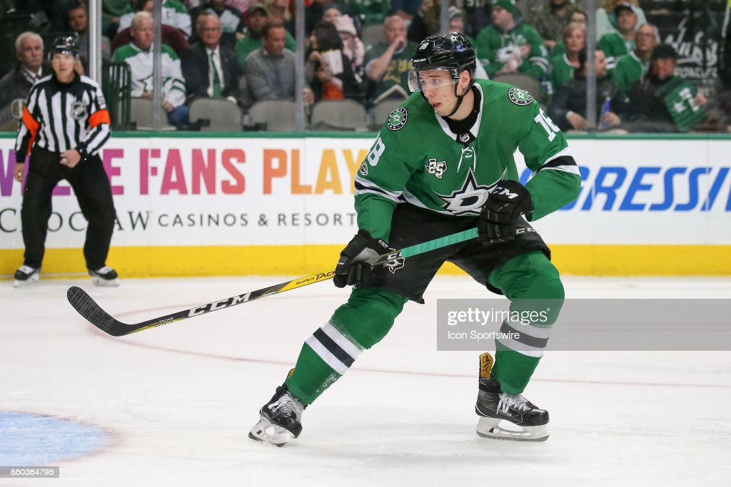 Dallas Stars Right Wing Tyler Pitlick (18) sets up in front of the net during the NHL game between the Detroit Red Wings and Dallas Stars on October 10, 2017 at the American Airlines Center in Dallas, TX.