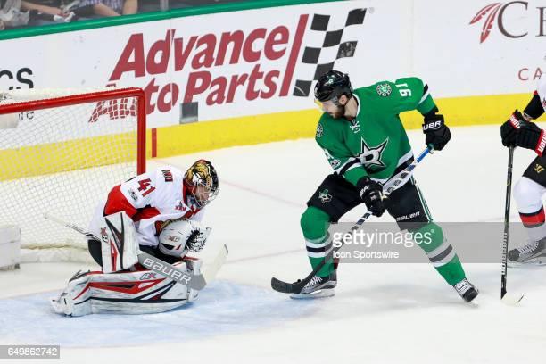 Dallas Stars Right Wing Tyler Seguin deflects a shot on Ottawa Senators Goalie Craig Anderson during the NHL hockey game between the Ottawa Senators...