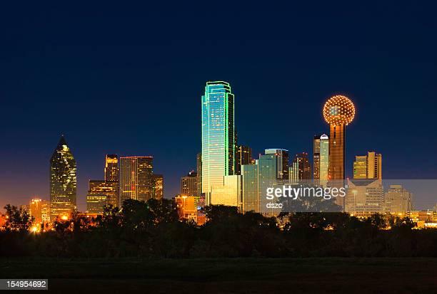 Dallas Texas city skyline panorama cityscape at night