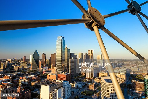 Dallas, Texas cityscape with blue sky at sunset : Stockfoto