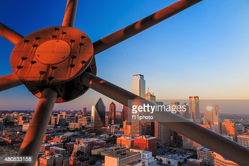 Dallas, Texas cityscape with blue sky at sunset : Stock Photo