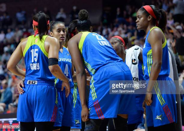Dallas Wing huddle during the break as the Connecticut Sun host the Dallas Wings on August 12 2017 at the Mohegan Sun Arena in Uncasville Connecticut