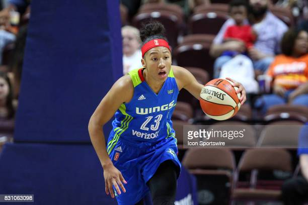 Dallas Wings forward Aerial Powers fast breaks during the second half of an WNBA game between Dallas Wings and Connecticut Sun on August 12 at...