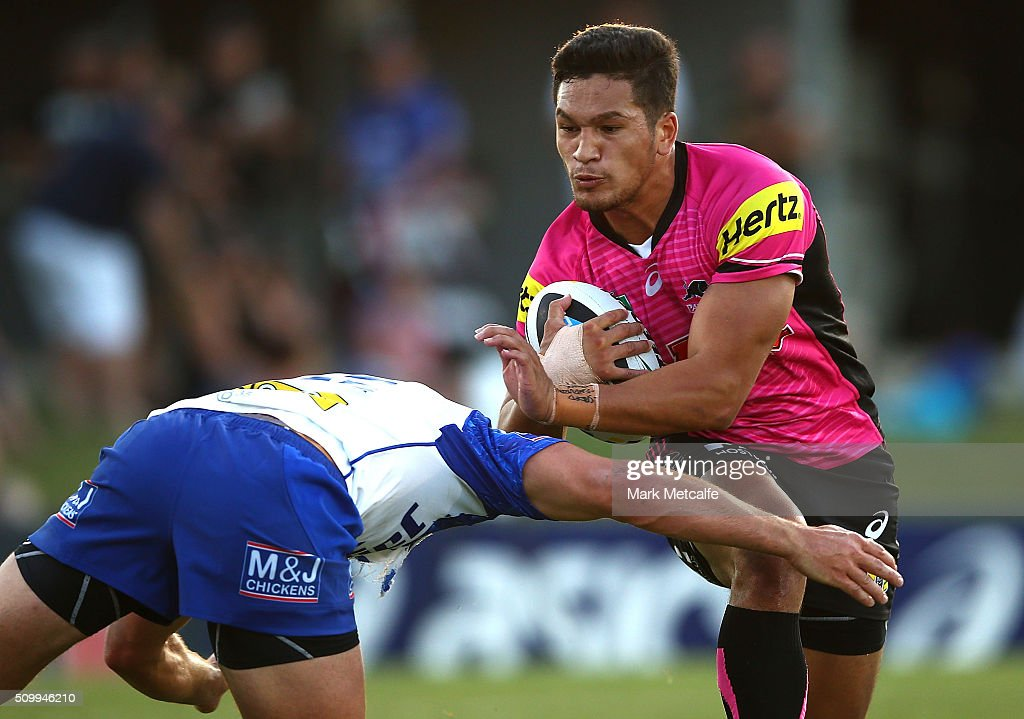 Dallin Watene-Zelezniak of the Panthers is tackled during the NRL Trial match between the Canterbury Bulldogs and the Penrith Panthers at Pepper Stadium on February 13, 2016 in Sydney, Australia.