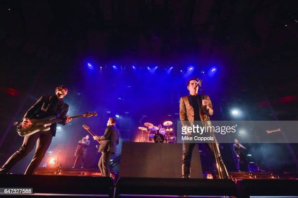 Dallon Weekes Kenneth Harris Dan Pawlovich and Brendon Urie of the band Panic At The Disco perform at Madison Square Garden on March 2 2017 in New...