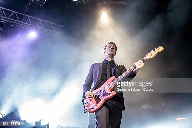 MILAN ITALY NOVEMBER Dallon Weekes of American rock band Panic at the Disco performs on stage on November 4 2016 in Milan Italy