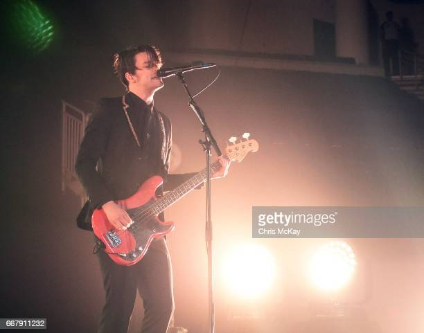 Dallon Weekes of Panic At The Disco performs at Infinite Energy Center on April 12 2017 in Duluth Georgia