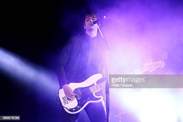 Dallon Weekes of Panic at the Disco performs at Irvine Meadows Amphitheatre on August 6 2016 in Irvine California