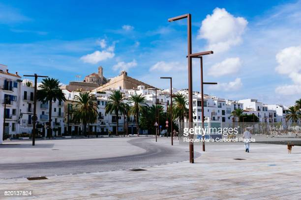Dalt Vila and La Marina neighborhoods view from the old port new promenade