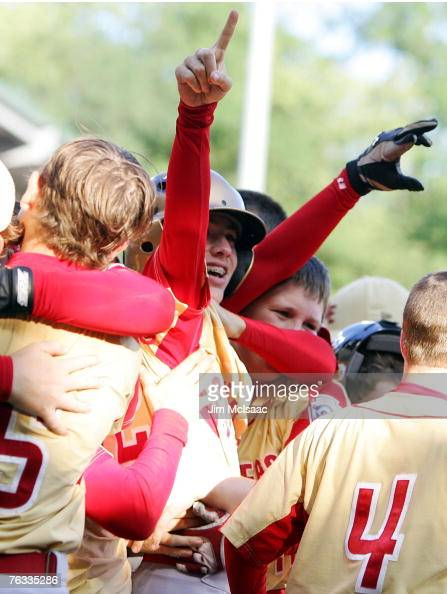 Dalton Carriker of the Southeast team from Warner Robins Georgia celebrates his eigth inning walk off home run against the Japanese team from Tokyo...