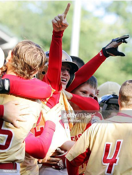 Dalton Carriker of the Southeast team from Warner Robins Georgia celebrates his eighth inning walk off home run against the Japanese team from Tokyo...