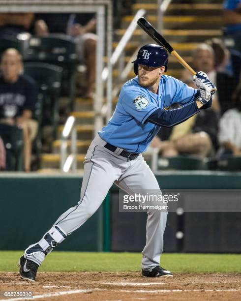 Dalton Kelly of the Tampa Bay Rays bats against the Minnesota Twins on February 24 2017 at the CenturyLink Sports Complex in Fort Myers Florida