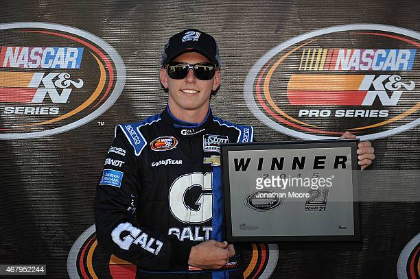 Dalton Sargeant driver of the GALT Ford poses for the pole award after qualifying for the Napa Auto Parts 150 at Kern County Raceway Park on March 28...