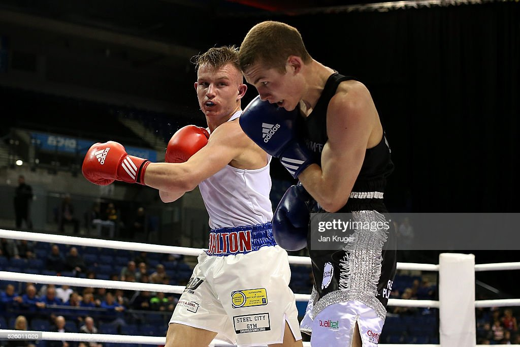 Dalton Smith(red) in action against Connor Parker in their 64kg fight during day one of the Boxing Elite National Championships at Echo Arena on April 29, 2016 in Liverpool, England.
