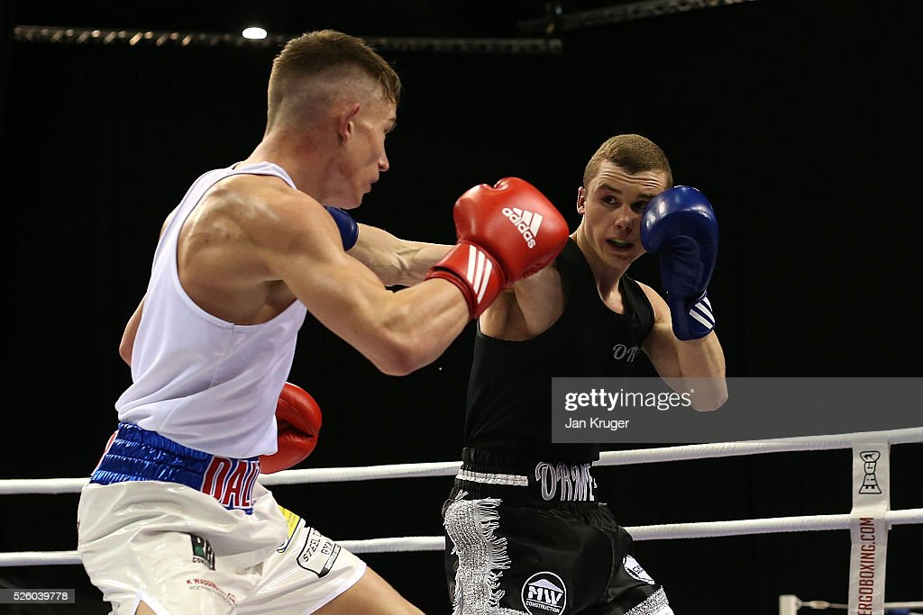 Dalton Smith (red) in action against Connor Parker in their 64kg fight during day one of the Boxing Elite National Championships at Echo Arena on April 29, 2016 in Liverpool, England.