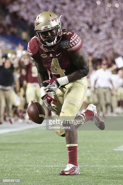 Dalvin Cook of the Florida State Seminoles fumbles the ball near the goal line in the second quarter against the Mississippi Rebels during the...