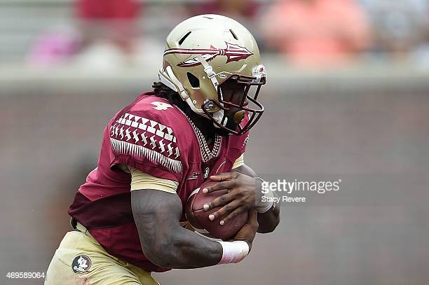 Dalvin Cook of the Garnet team runs for yards against the Gold team during Florida State's Garnet and Gold spring game at Doak Campbell Stadium on...
