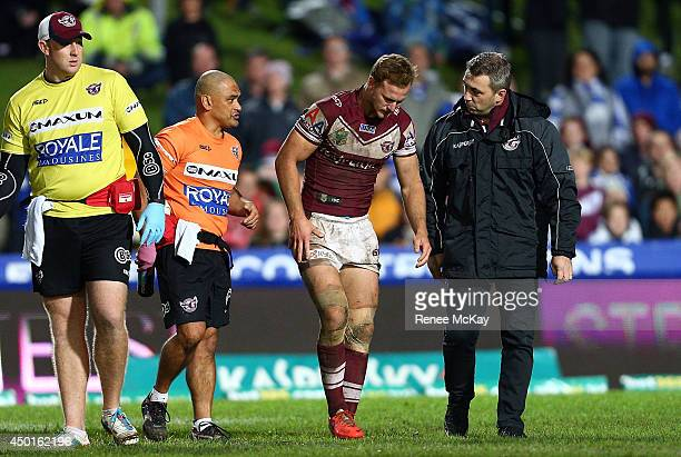 Daly Cherry Evans of the Sea Eagles leaves the field injured during the round 13 NRL match between the ManlyWarringah Sea Eagles and the...