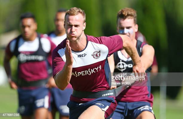 Daly Cherry Evans runs ahead during a Manly Sea Eagles NRL training session at the Sydney Academy of Sport on March 11 2014 in Sydney Australia