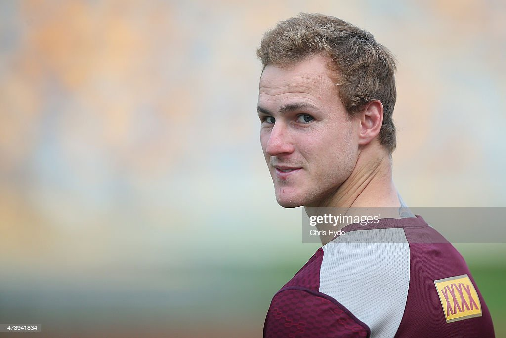 Daly CherryEvans arrives at the Queensland Maroons State of Origin training session at Queensland Sport and Athletics Centre on May 19 2015 in...