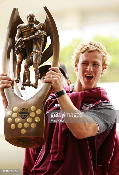 Daly CherryEvans holds the NRL Premiership trophy in front of fans during the Manly Warringah Sea Eagles NRL Grand Final celebrations at the Manly...