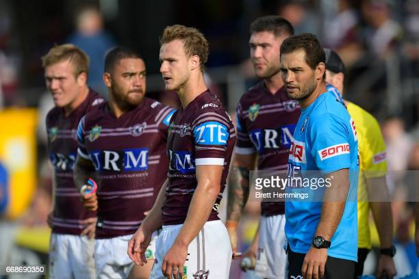 Daly CherryEvans of Manly shows his dejection during the round seven NRL match between the Manly Sea Eagles and the Melbourne Storm at Lottoland on...