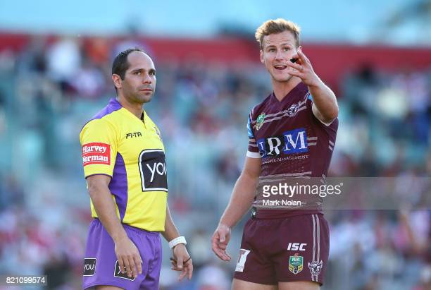 Daly CherryEvans of the Eagles talks with referee Ashley Klein during the round 20 NRL match between the St George Illawarra Dragons and the Manly...