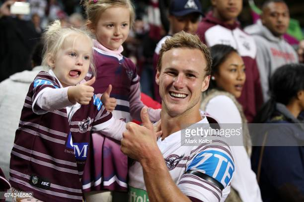 Daly CherryEvans of the Sea Eagles celebrates victory with his family in the crowd after the round nine NRL match between the South Sydney Rabbitohs...