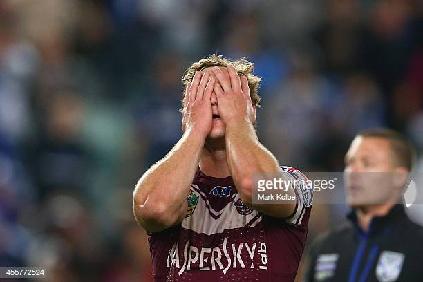 Daly CherryEvans of the Sea Eagles looks dejected after defeat in extra time golden point during the NRL 2nd Semi Final match between the Manly Sea...