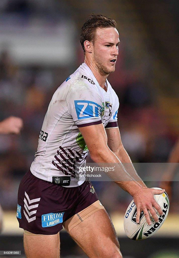 <a gi-track='captionPersonalityLinkClicked' href=/galleries/search?phrase=Daly+Cherry-Evans&family=editorial&specificpeople=7594603 ng-click='$event.stopPropagation()'>Daly Cherry-Evans</a> of the Sea Eagles looks to kick the ball during the round 16 NRL match between the North Queensland Cowboys and the Manly Sea Eagles at 1300SMILES Stadium on June 27, 2016 in Townsville, Australia.
