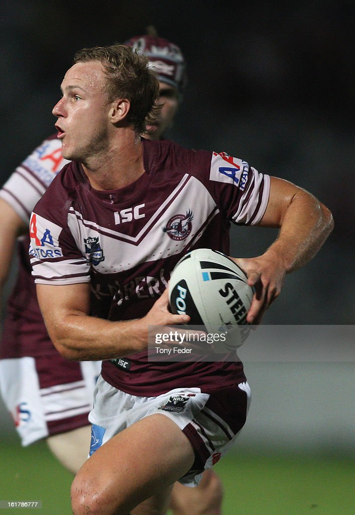 Daly Cherry-Evans of the Sea Eagles looks to pass the ball during the NRL trial match between the Manly Sea Eagles and the Sydney Roosters at Bluetongue Stadium on February 16, 2013 in Gosford, Australia.