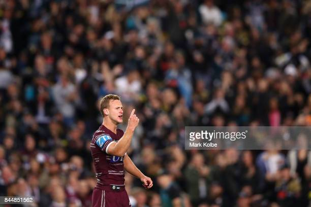 Daly CherryEvans of the Sea Eagles shouts instructions to his team mates during the NRL Elimination Final match between the Manly Sea Eagles and the...