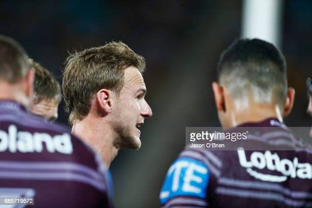 Daly CherryEvans of the Sea Eagles talks to his team mates during the round 11 NRL match between the Gold Coast Titans and the Manly Sea Eagles at...