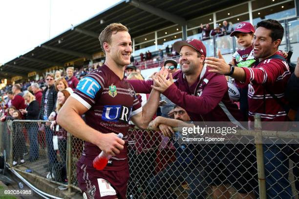 Daly CherryEvans of the Sea Eagles thanks fans after winning the round 13 NRL match between the Manly Sea Eagles and the Canberra Raiders at...