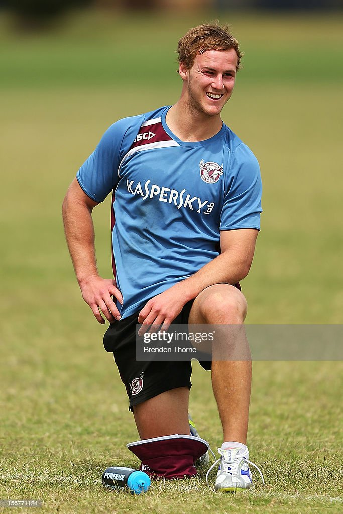 Daly Cherry-Evans of the Sea Eagles warms down during a Manly Sea Eagles NRL pre-season training session at Sydney Academy of Sport on November 21, 2012 in Sydney, Australia.