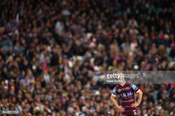 Daly CherryEvans of the Sea Eagles watches on during the NRL Elimination Final match between the Manly Sea Eagles and the Penrith Panthers at Allianz...